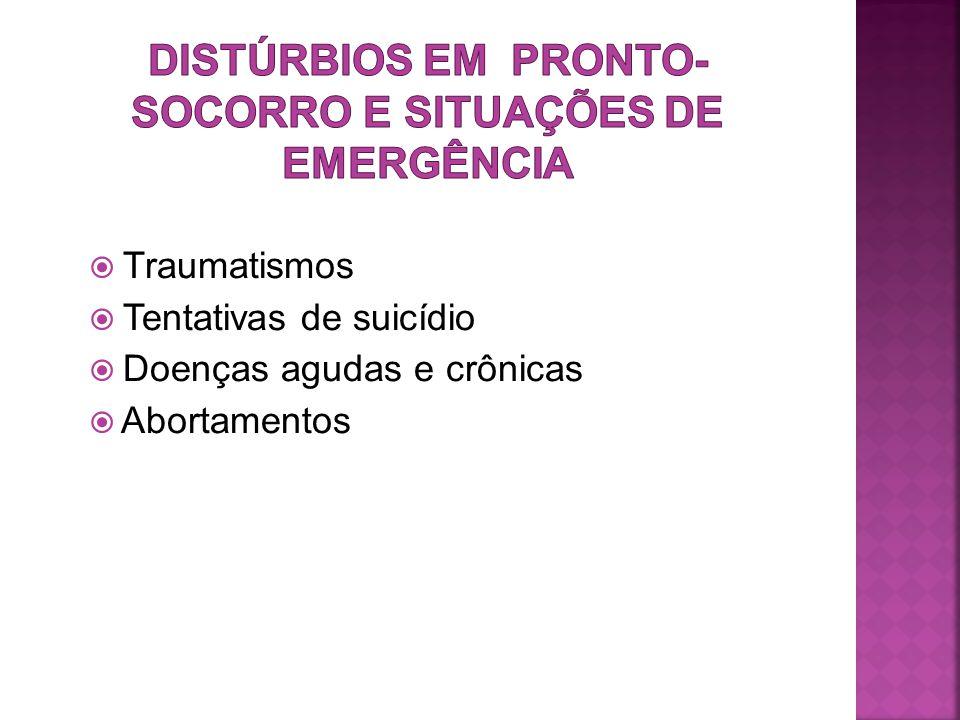  Traumatismos  Tentativas de suicídio  Doenças agudas e crônicas  Abortamentos
