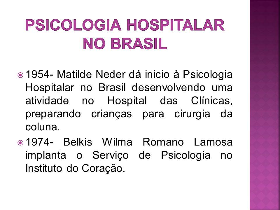  1954- Matilde Neder dá inicio à Psicologia Hospitalar no Brasil desenvolvendo uma atividade no Hospital das Clínicas, preparando crianças para cirurgia da coluna.