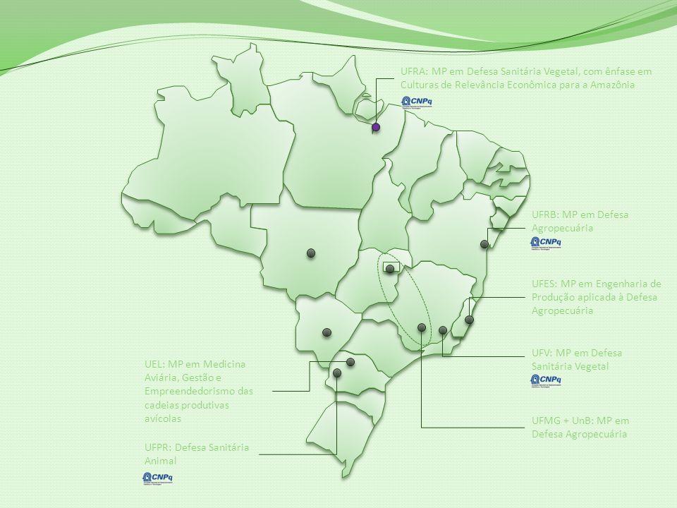UFRA: MP em Defesa Sanitária Vegetal, com ênfase em Culturas de Relevância Econômica para a Amazônia UFES: MP em Engenharia de Produção aplicada à Defesa Agropecuária UFV: MP em Defesa Sanitária Vegetal UFMG + UnB: MP em Defesa Agropecuária UFPR: Defesa Sanitária Animal UFRB: MP em Defesa Agropecuária UEL: MP em Medicina Aviária, Gestão e Empreendedorismo das cadeias produtivas avícolas