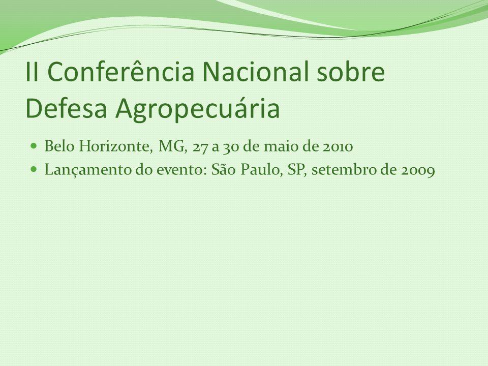 II Conferência Nacional sobre Defesa Agropecuária Belo Horizonte, MG, 27 a 30 de maio de 2010 Lançamento do evento: São Paulo, SP, setembro de 2009