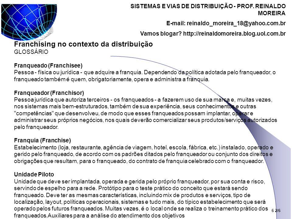 SISTEMAS E VIAS DE DISTRIBUIÇÃO - PROF. REINALDO MOREIRA E-mail: reinaldo_moreira_18@yahoo.com.br Vamos blogar? http://reinaldomoreira.blog.uol.com.br