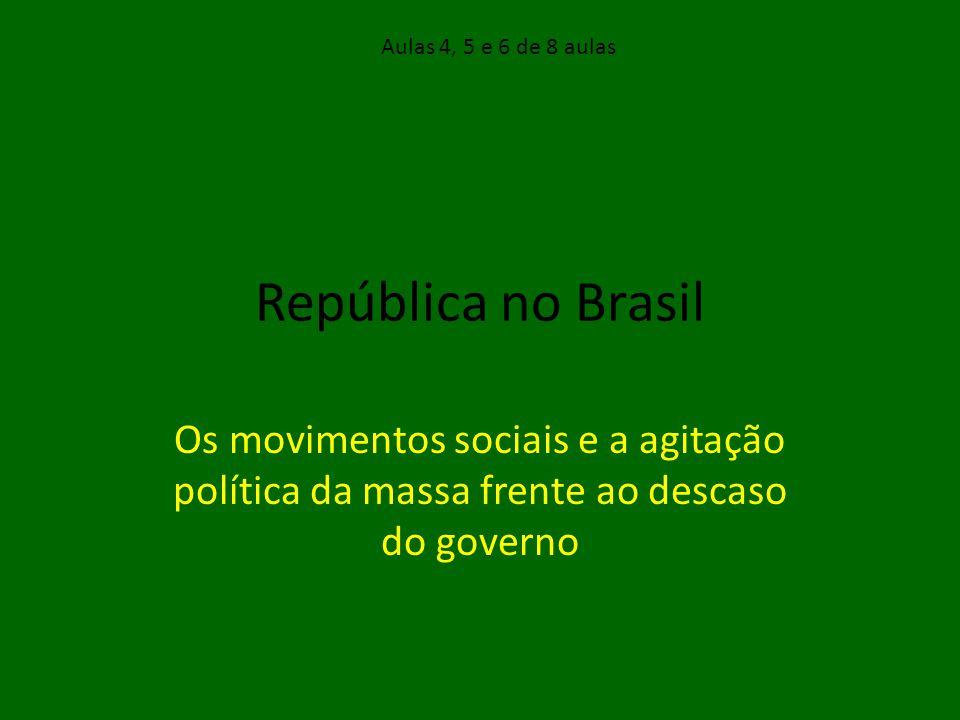 Objetivos Estudar os principais movimentos sociais da Primeira República: Cangaço, Contestado, Mov.