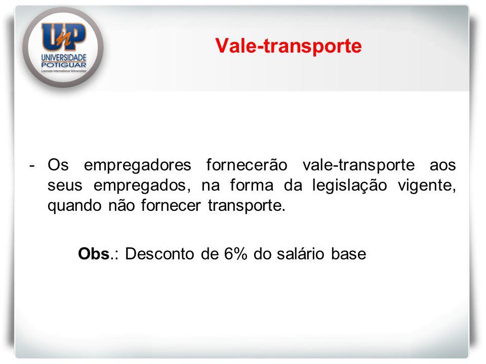 Vale-transporte -Os empregadores fornecerão vale-transporte aos seus empregados, na forma da legislação vigente, quando não fornecer transporte.