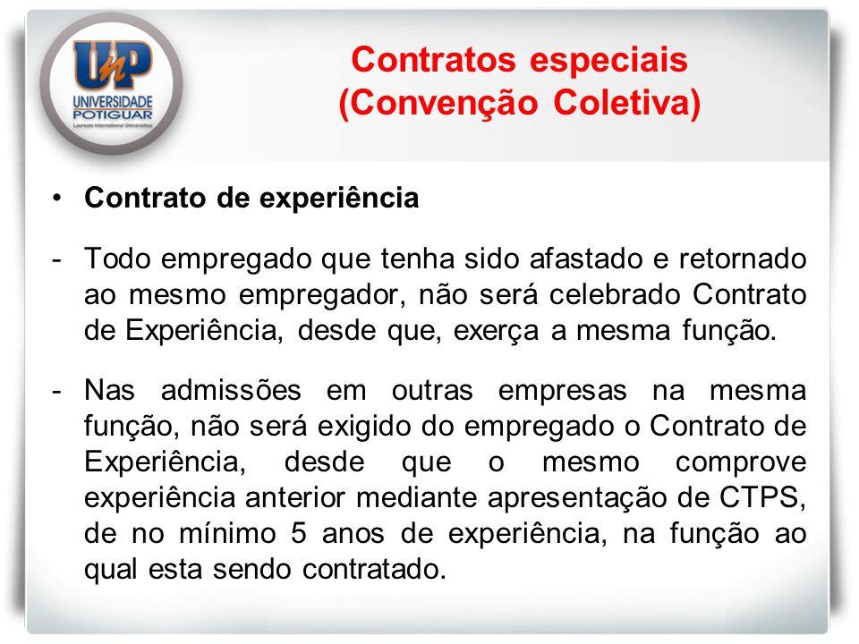 Contrato de experiência -Todo empregado que tenha sido afastado e retornado ao mesmo empregador, não será celebrado Contrato de Experiência, desde que, exerça a mesma função.