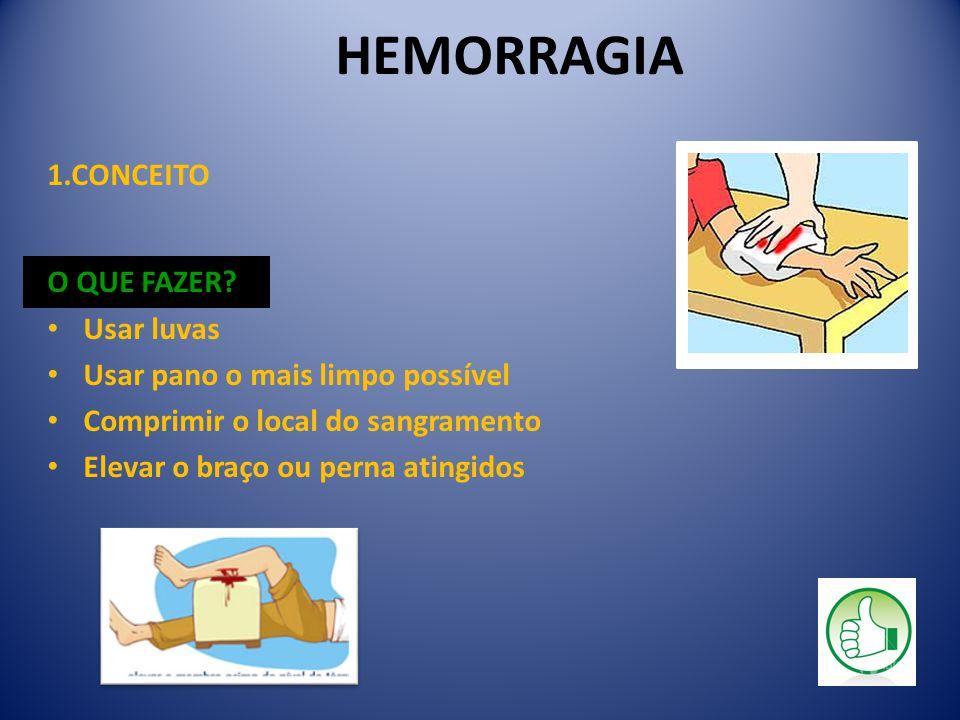 HEMORRAGIA 1.CONCEITO O QUE FAZER? Usar luvas Usar pano o mais limpo possível Comprimir o local do sangramento Elevar o braço ou perna atingidos