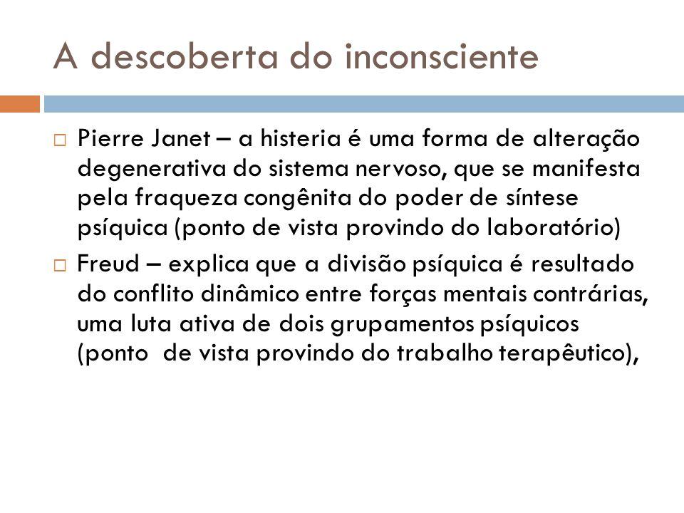 A descoberta do inconsciente  Pierre Janet – a histeria é uma forma de alteração degenerativa do sistema nervoso, que se manifesta pela fraqueza cong