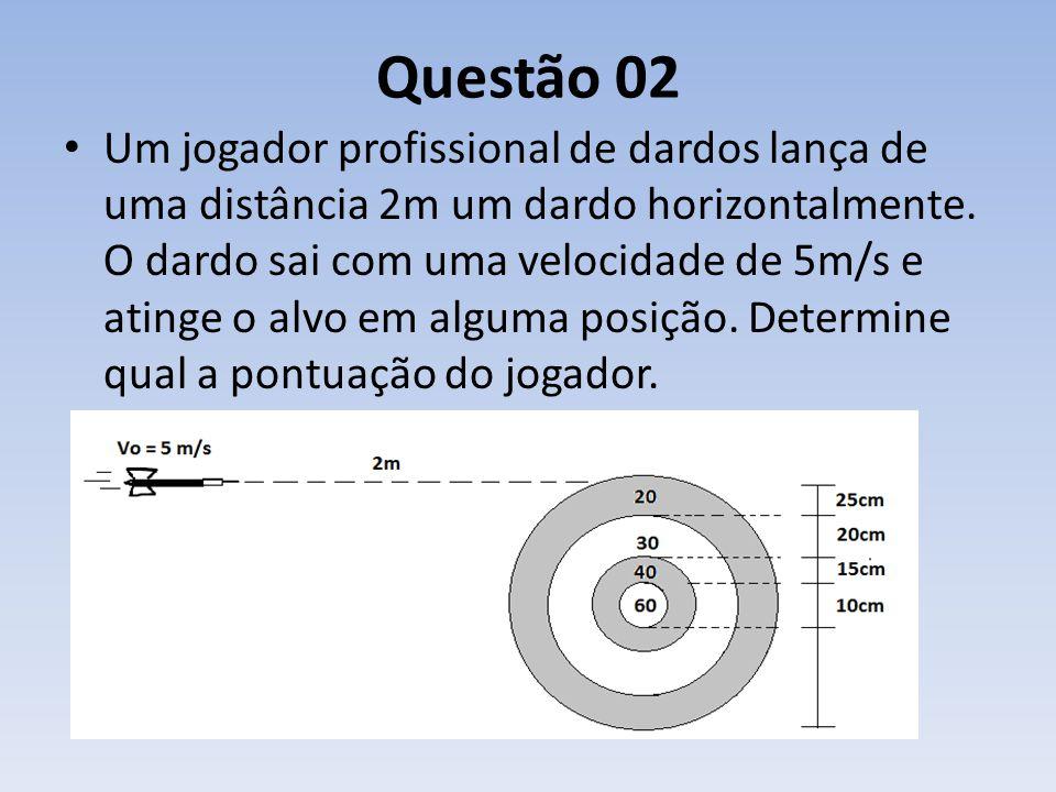 Questão 02 Um jogador profissional de dardos lança de uma distância 2m um dardo horizontalmente. O dardo sai com uma velocidade de 5m/s e atinge o alv