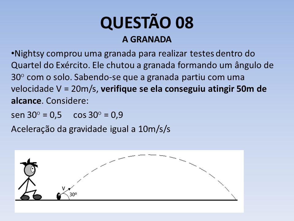 QUESTÃO 08 A GRANADA Nightsy comprou uma granada para realizar testes dentro do Quartel do Exército. Ele chutou a granada formando um ângulo de 30 o c