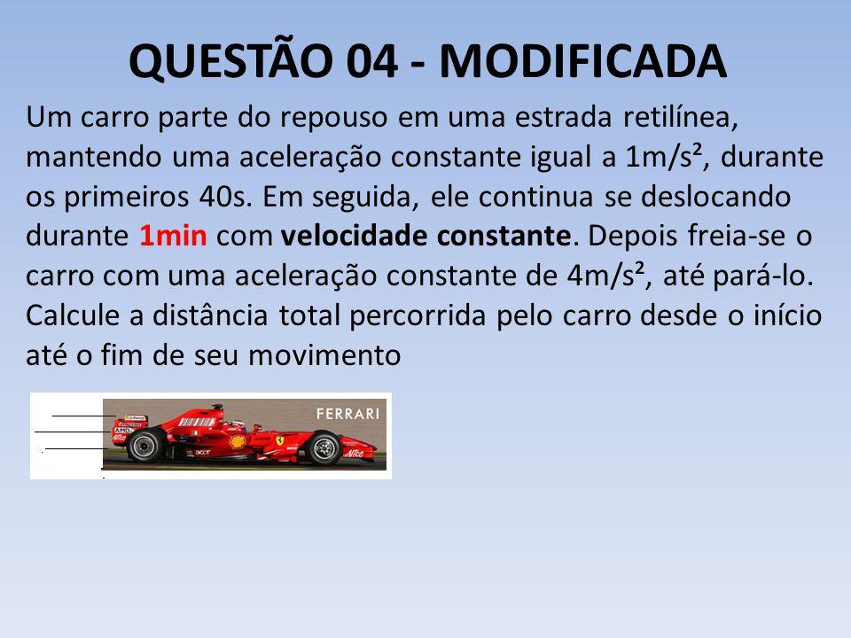 QUESTÃO 04 - MODIFICADA Um carro parte do repouso em uma estrada retilínea, mantendo uma aceleração constante igual a 1m/s², durante os primeiros 40s.