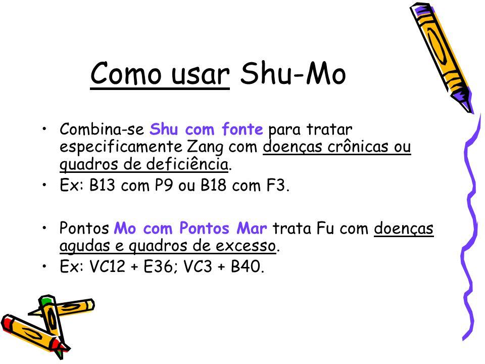 Como usar Shu-Mo Combina-se Shu com fonte para tratar especificamente Zang com doenças crônicas ou quadros de deficiência. Ex: B13 com P9 ou B18 com F