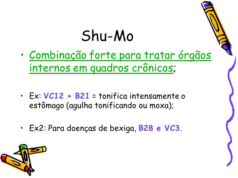 Shu-Mo Combinação forte para tratar órgãos internos em quadros crônicos; Ex: VC12 + B21 = tonifica intensamente o estômago (agulha tonificando ou moxa