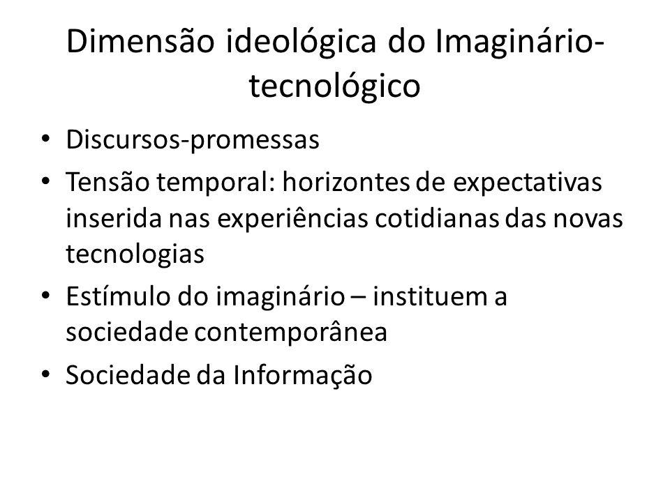 Dimensão ideológica do Imaginário- tecnológico Discursos-promessas Tensão temporal: horizontes de expectativas inserida nas experiências cotidianas das novas tecnologias Estímulo do imaginário – instituem a sociedade contemporânea Sociedade da Informação