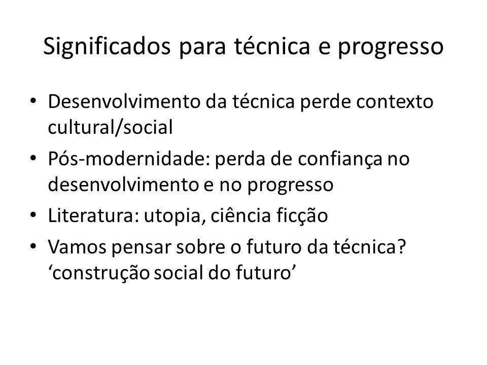 Significados para técnica e progresso Desenvolvimento da técnica perde contexto cultural/social Pós-modernidade: perda de confiança no desenvolvimento e no progresso Literatura: utopia, ciência ficção Vamos pensar sobre o futuro da técnica.