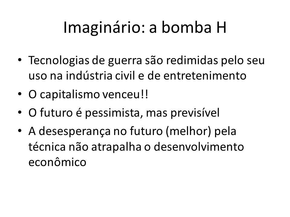 Imaginário: a bomba H Tecnologias de guerra são redimidas pelo seu uso na indústria civil e de entretenimento O capitalismo venceu!.
