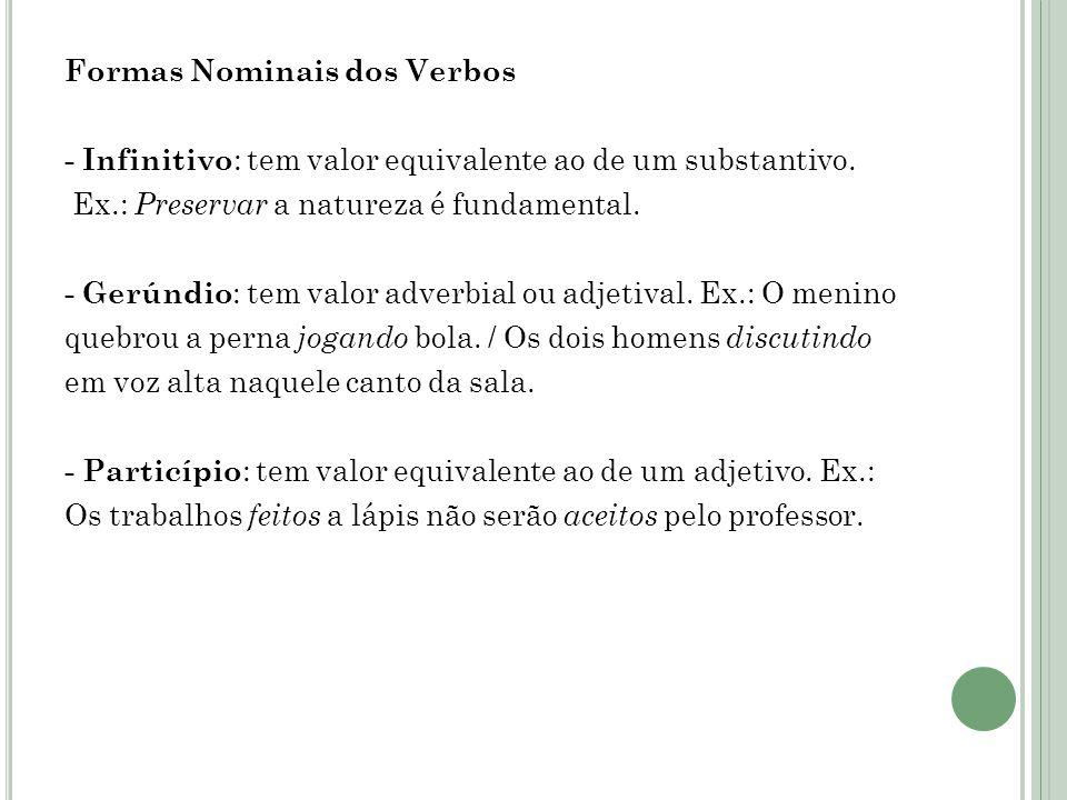 Formas Nominais dos Verbos - Infinitivo : tem valor equivalente ao de um substantivo.