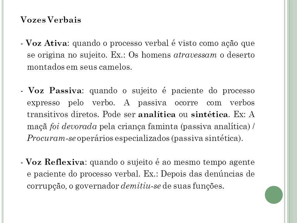 Vozes Verbais - Voz Ativa : quando o processo verbal é visto como ação que se origina no sujeito.