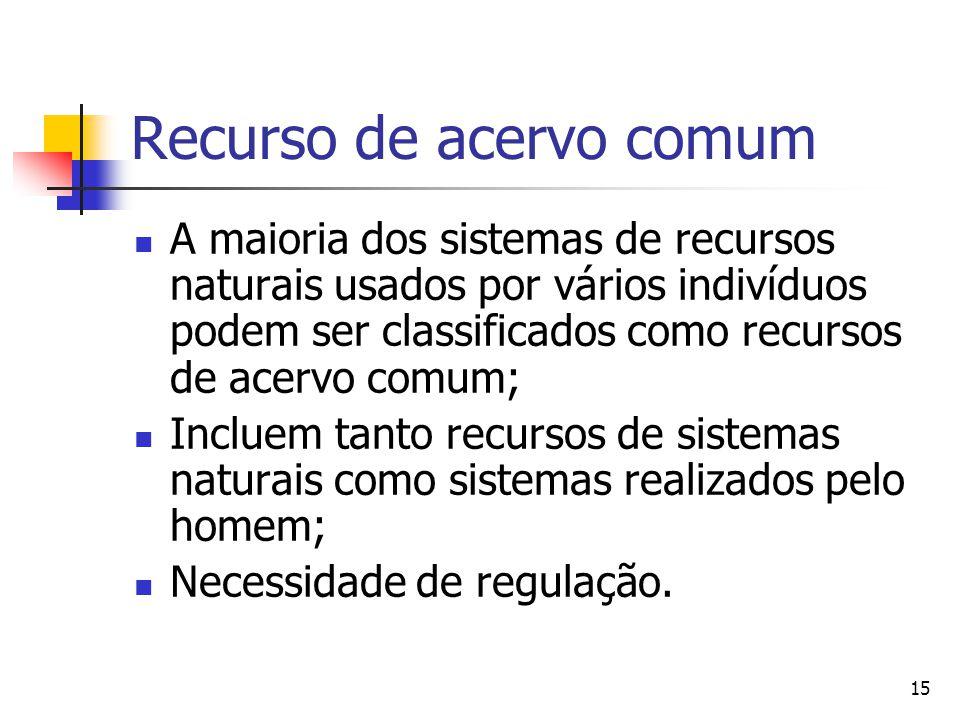15 Recurso de acervo comum A maioria dos sistemas de recursos naturais usados por vários indivíduos podem ser classificados como recursos de acervo comum; Incluem tanto recursos de sistemas naturais como sistemas realizados pelo homem; Necessidade de regulação.