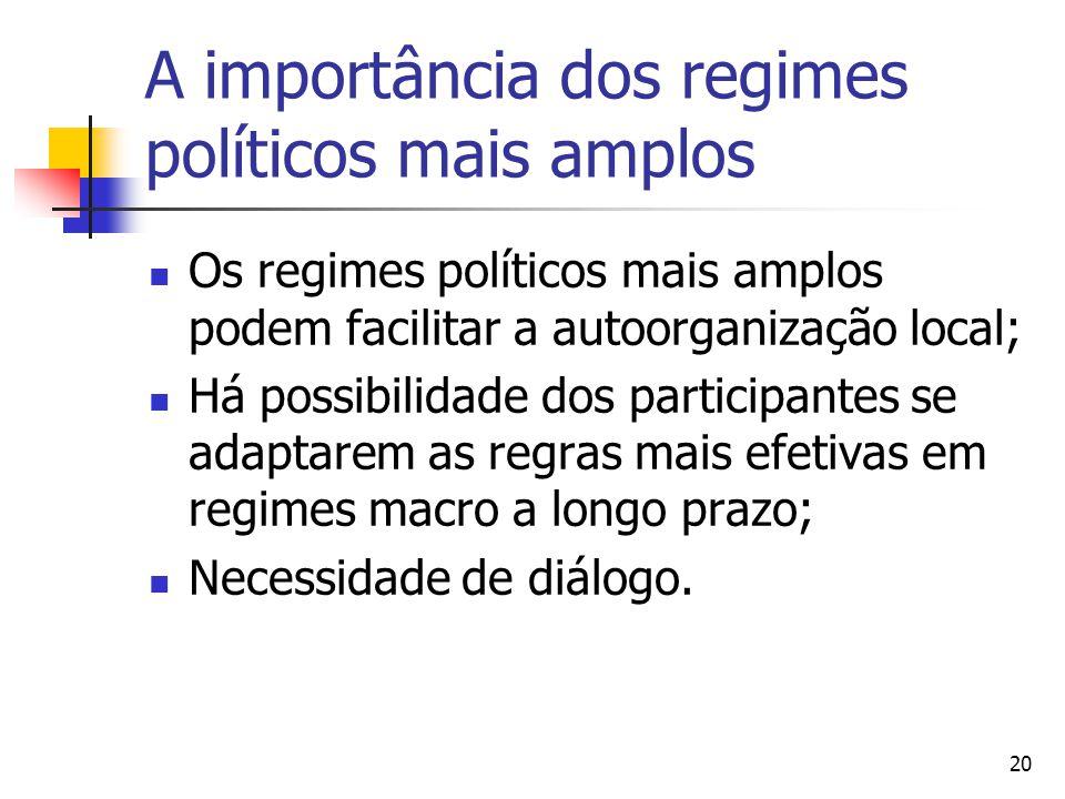 20 A importância dos regimes políticos mais amplos Os regimes políticos mais amplos podem facilitar a autoorganização local; Há possibilidade dos participantes se adaptarem as regras mais efetivas em regimes macro a longo prazo; Necessidade de diálogo.