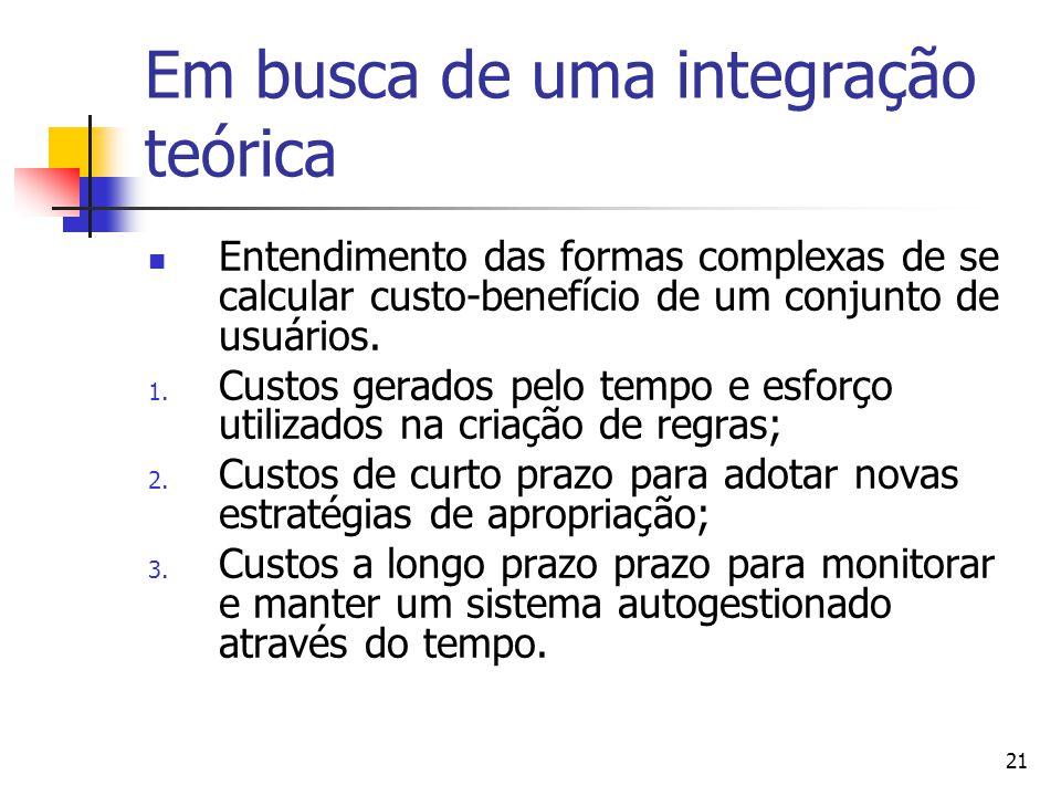 21 Em busca de uma integração teórica Entendimento das formas complexas de se calcular custo-benefício de um conjunto de usuários.