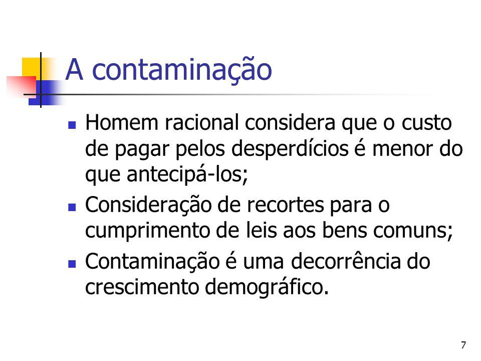7 A contaminação Homem racional considera que o custo de pagar pelos desperdícios é menor do que antecipá-los; Consideração de recortes para o cumprimento de leis aos bens comuns; Contaminação é uma decorrência do crescimento demográfico.
