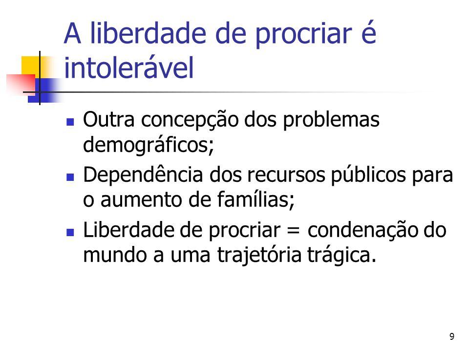 9 A liberdade de procriar é intolerável Outra concepção dos problemas demográficos; Dependência dos recursos públicos para o aumento de famílias; Liberdade de procriar = condenação do mundo a uma trajetória trágica.