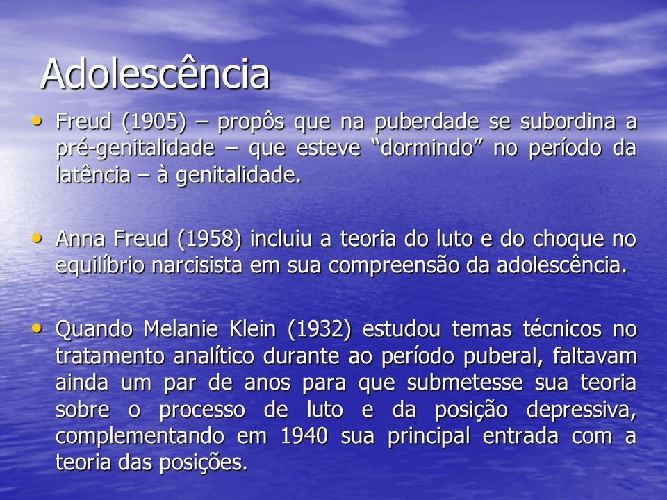 Adolescência Freud (1905) – propôs que na puberdade se subordina a pré-genitalidade – que esteve dormindo no período da latência – à genitalidade.