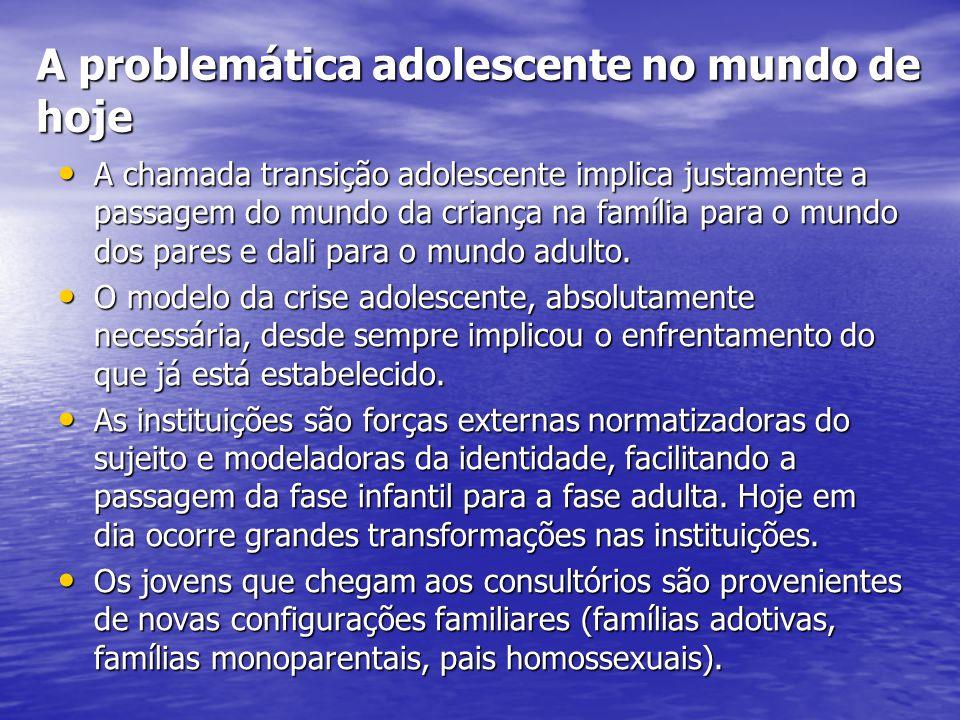 A problemática adolescente no mundo de hoje A chamada transição adolescente implica justamente a passagem do mundo da criança na família para o mundo dos pares e dali para o mundo adulto.