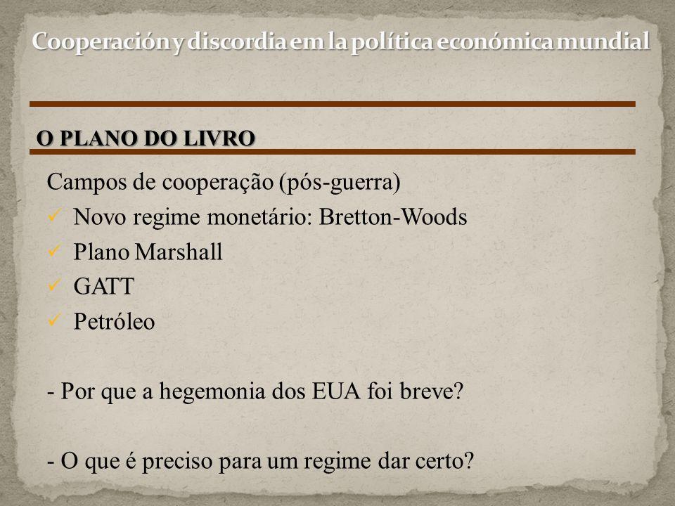 O PLANO DO LIVRO Campos de cooperação (pós-guerra) Novo regime monetário: Bretton-Woods Plano Marshall GATT Petróleo - Por que a hegemonia dos EUA foi