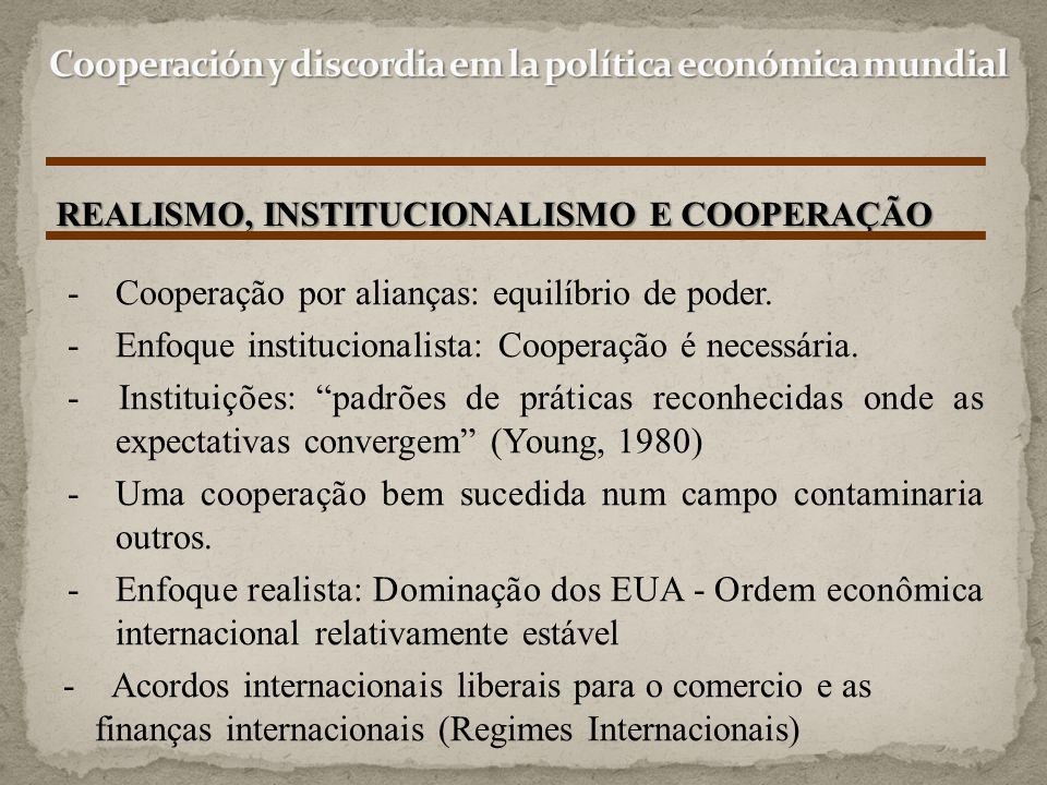 REALISMO, INSTITUCIONALISMO E COOPERAÇÃO Opiniões/constatações do autor: - A erosão dos regimes internacionais após a 2ª Guerra refuta a versão institucionalista da interdependência como agente de resolução de conflitos e estímulo a cooperação - A persistência das intenções de cooperação durante a década de 70 sugere que a decadência da hegemonia não implica necessariamente no fim da cooperação.