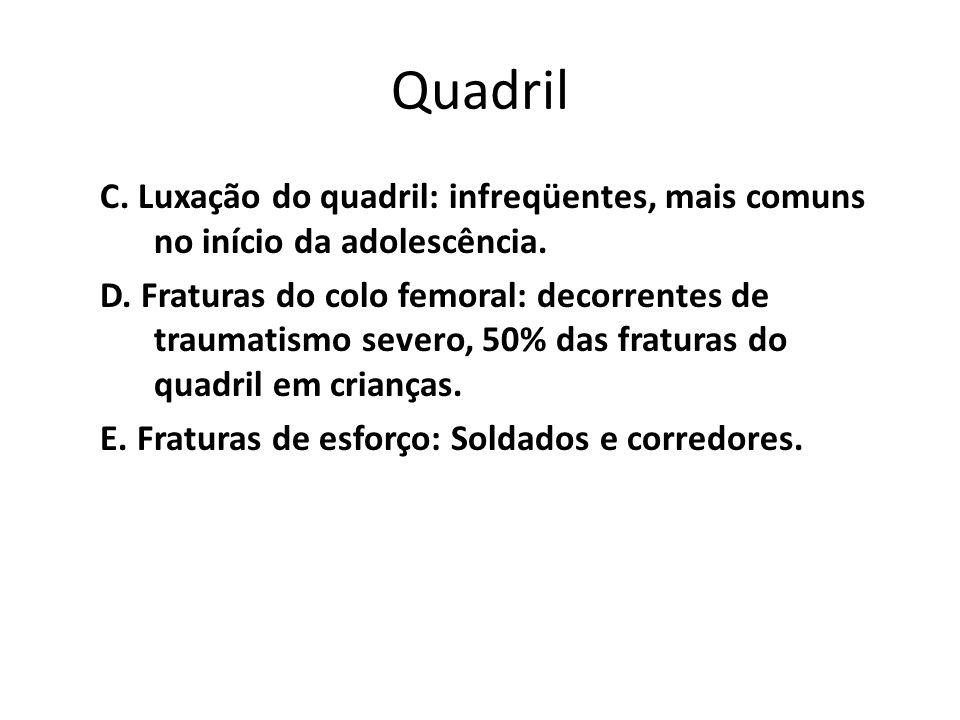Quadril C. Luxação do quadril: infreqüentes, mais comuns no início da adolescência. D. Fraturas do colo femoral: decorrentes de traumatismo severo, 50