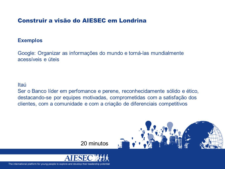 Construir a visão do AIESEC em Londrina 20 minutos Exemplos Google: Organizar as informações do mundo e torná-las mundialmente acessíveis e úteis Itaú Ser o Banco líder em perfomance e perene, reconhecidamente sólido e ético, destacando-se por equipes motivadas, comprometidas com a satisfação dos clientes, com a comunidade e com a criação de diferenciais competitivos