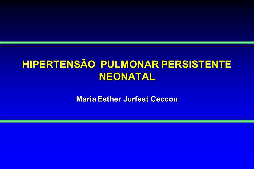 HIPERTENSÃO PULMONAR PERSISTENTE DO RECÉM-NASCIDO CONCEITO: Síndrome associada a várias doenças cárdio- pulmonares caracterizada por hipertensão vascular pulmonar e alteração na vaso-reatividade levando a shunt D-E através do FO e/ou CA, pouco responsiva a oxigenioterapia Síndrome associada a várias doenças cárdio- pulmonares caracterizada por hipertensão vascular pulmonar e alteração na vaso-reatividade levando a shunt D-E através do FO e/ou CA, pouco responsiva a oxigenioterapia