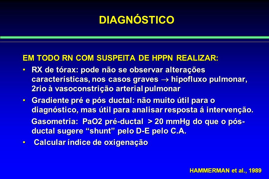 EM TODO RN COM SUSPEITA DE HPPN REALIZAR: RX de tórax: pode não se observar alterações características, nos casos graves  hipofluxo pulmonar, 2rio à
