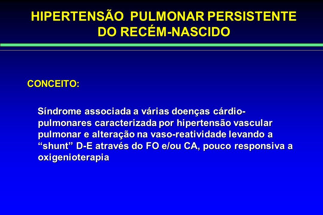 HIPERTENSÃO PULMONAR PERSISTENTE DO RECÉM-NASCIDO CONCEITO: Síndrome associada a várias doenças cárdio- pulmonares caracterizada por hipertensão vascu