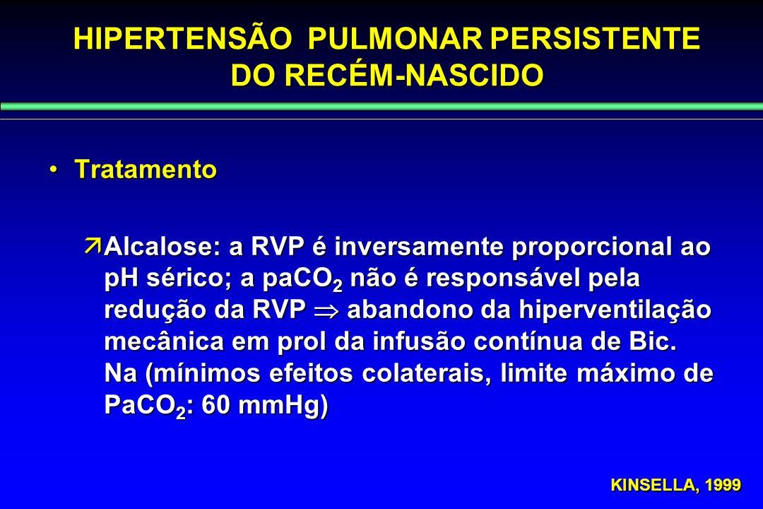 HIPERTENSÃO PULMONAR PERSISTENTE DO RECÉM-NASCIDO TratamentoTratamento  Alcalose: a RVP é inversamente proporcional ao pH sérico; a paCO 2 não é resp