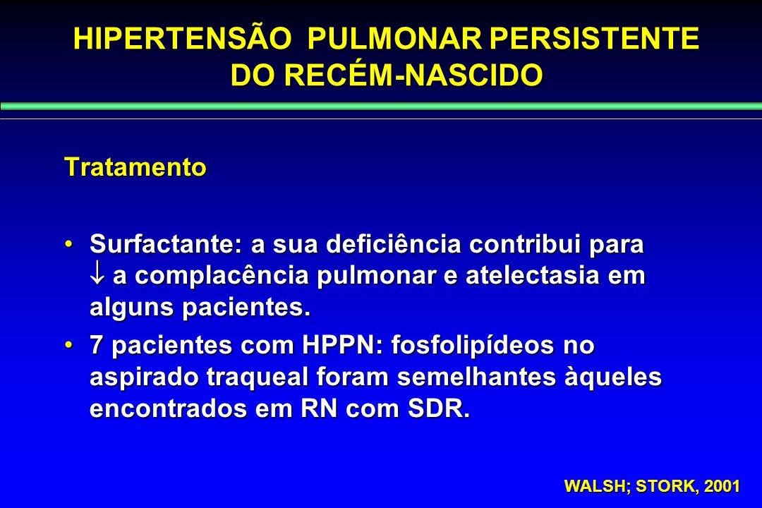 HIPERTENSÃO PULMONAR PERSISTENTE DO RECÉM-NASCIDO Tratamento Surfactante: a sua deficiência contribui para  a complacência pulmonar e atelectasia em