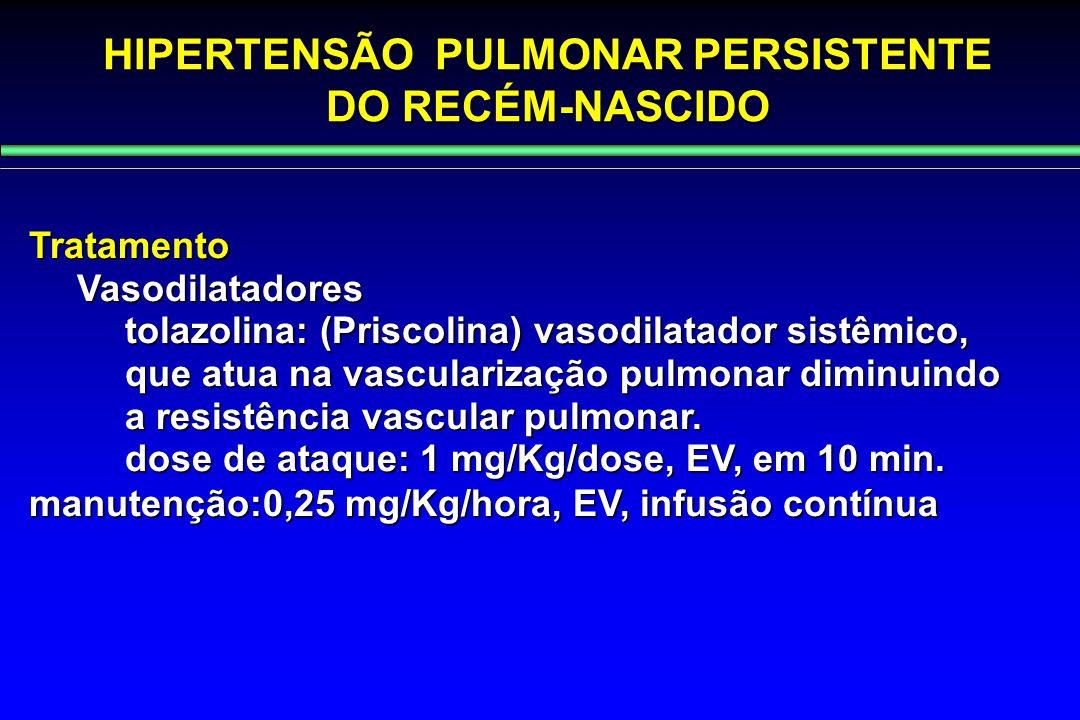 HIPERTENSÃO PULMONAR PERSISTENTE DO RECÉM-NASCIDO TratamentoVasodilatadores tolazolina: (Priscolina) vasodilatador sistêmico, que atua na vascularizaç