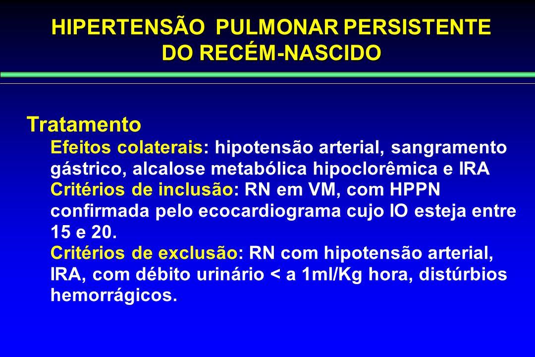 HIPERTENSÃO PULMONAR PERSISTENTE DO RECÉM-NASCIDO Tratamento Efeitos colaterais: hipotensão arterial, sangramento gástrico, alcalose metabólica hipocl