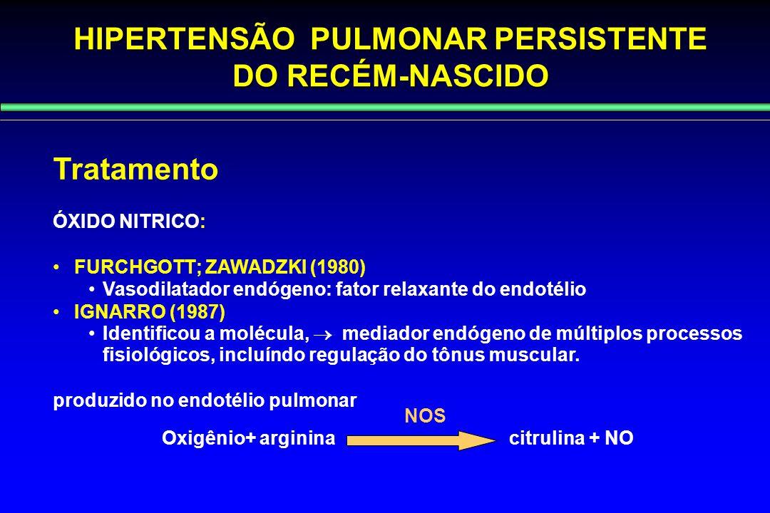 HIPERTENSÃO PULMONAR PERSISTENTE DO RECÉM-NASCIDO Tratamento ÓXIDO NITRICO: FURCHGOTT; ZAWADZKI (1980) Vasodilatador endógeno: fator relaxante do endo