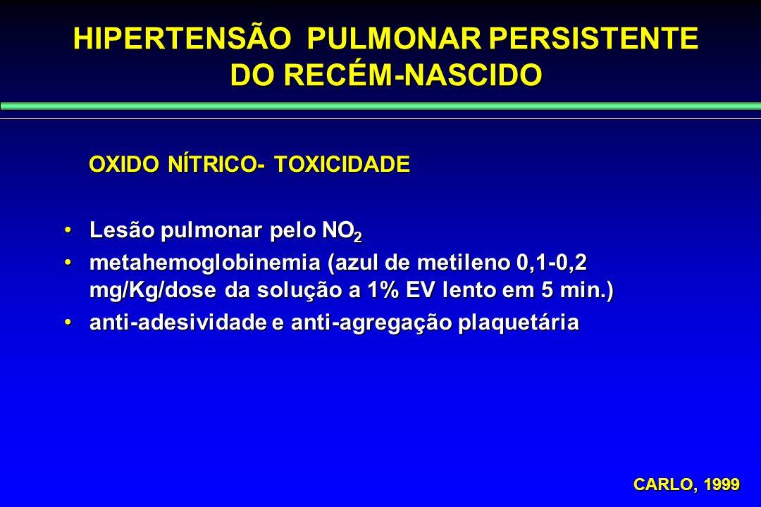HIPERTENSÃO PULMONAR PERSISTENTE DO RECÉM-NASCIDO OXIDO NÍTRICO- TOXICIDADE OXIDO NÍTRICO- TOXICIDADE Lesão pulmonar pelo NO 2Lesão pulmonar pelo NO 2