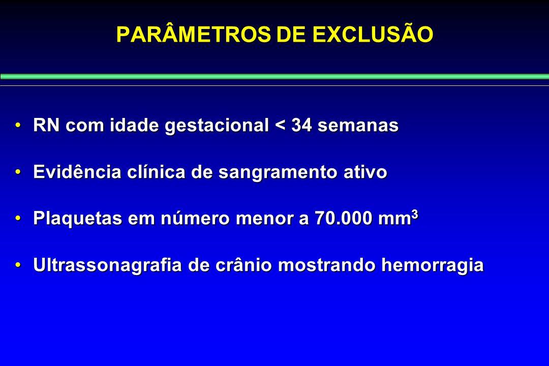 PARÂMETROS DE EXCLUSÃO RN com idade gestacional < 34 semanasRN com idade gestacional < 34 semanas Evidência clínica de sangramento ativoEvidência clín