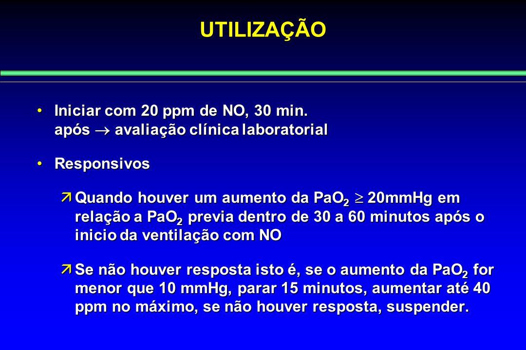 UTILIZAÇÃO Iniciar com 20 ppm de NO, 30 min. após  avaliação clínica laboratorialIniciar com 20 ppm de NO, 30 min. após  avaliação clínica laborator