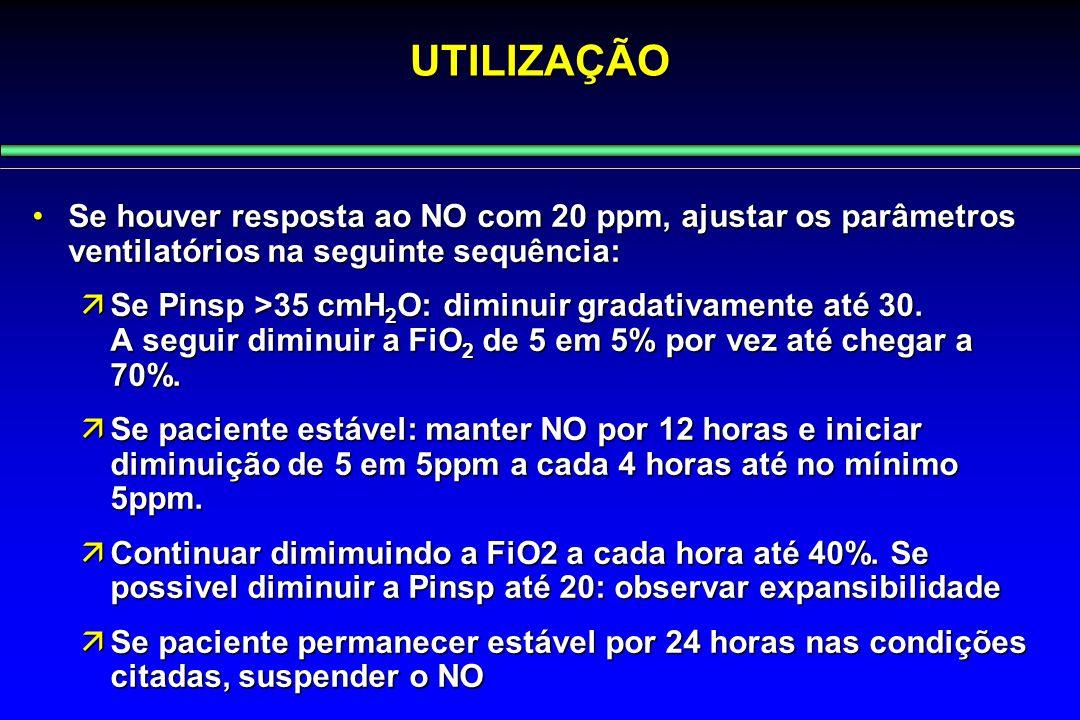 UTILIZAÇÃO Se houver resposta ao NO com 20 ppm, ajustar os parâmetros ventilatórios na seguinte sequência:Se houver resposta ao NO com 20 ppm, ajustar