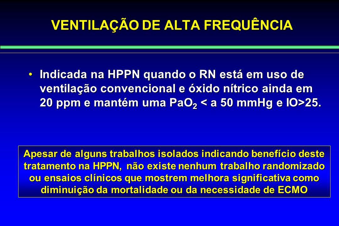 VENTILAÇÃO DE ALTA FREQUÊNCIA Indicada na HPPN quando o RN está em uso de ventilação convencional e óxido nítrico ainda em 20 ppm e mantém uma PaO 2 2
