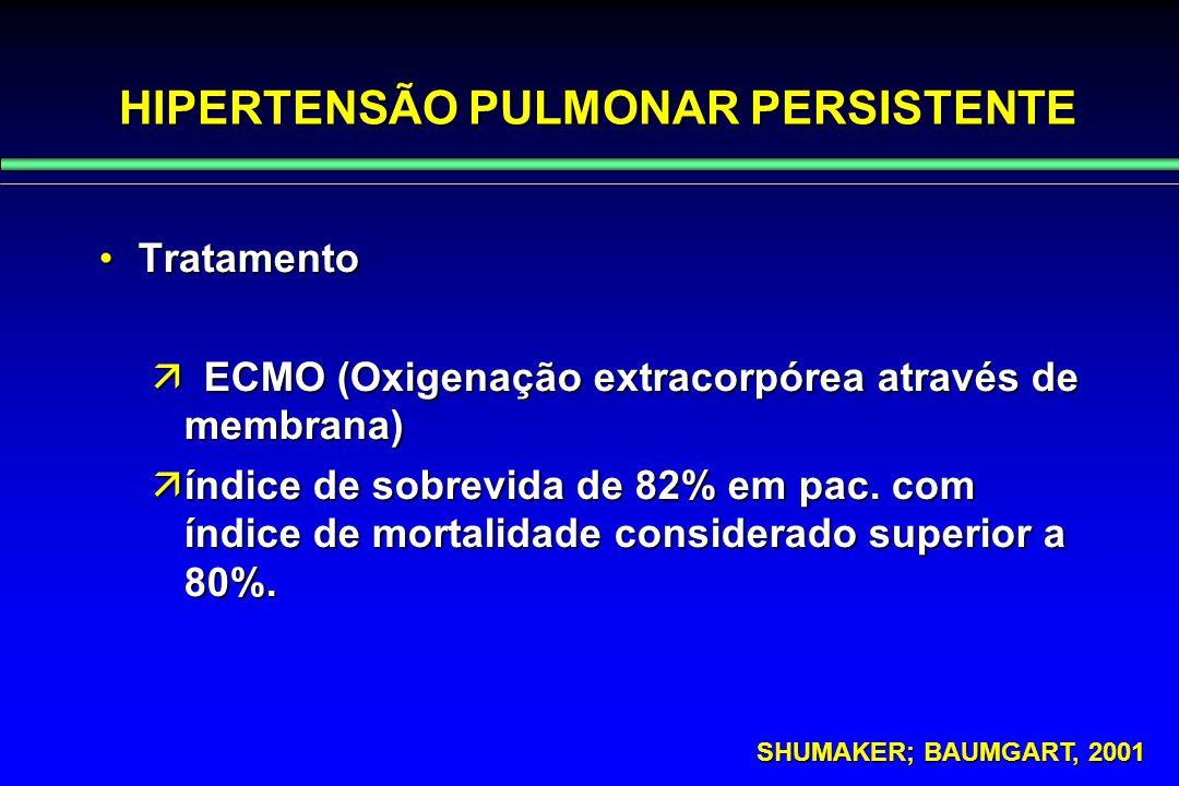 HIPERTENSÃO PULMONAR PERSISTENTE TratamentoTratamento  ECMO (Oxigenação extracorpórea através de membrana)  índice de sobrevida de 82% em pac. com í