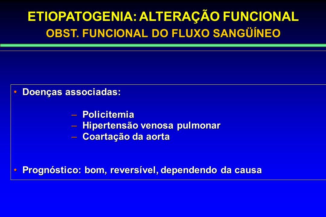 Doenças associadas: Doenças associadas: – Policitemia – Hipertensão venosa pulmonar – Coartação da aorta Prognóstico: bom, reversível, dependendo da c