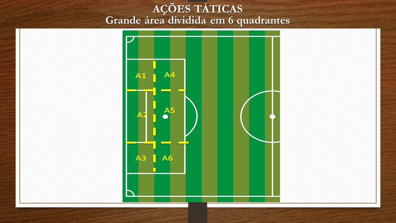 AÇÕES TÁTICAS Grande área dividida em 6 quadrantes