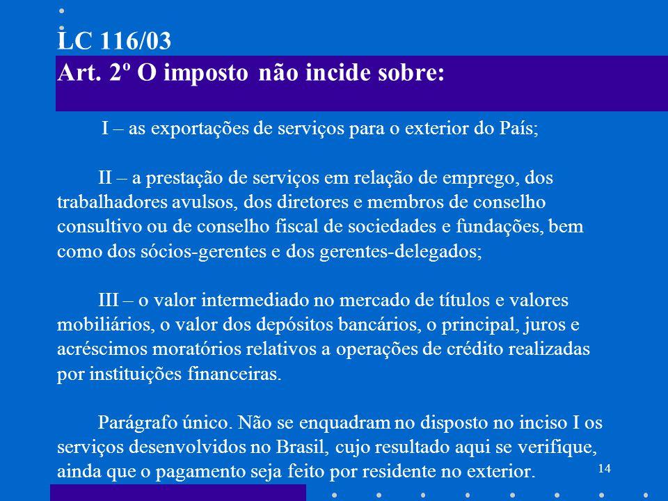 15 EXPORTAÇÃO DE SERVIÇOS (Não incidência do ISS) A não incidência do ISS sobre a exportação de serviços entra em vigor a partir de 1.08.03, pois tal ordenamento tem eficácia a partir da data da edição da LC, não sendo necessário aguardar Lei Municipal dispor sobre a matéria.