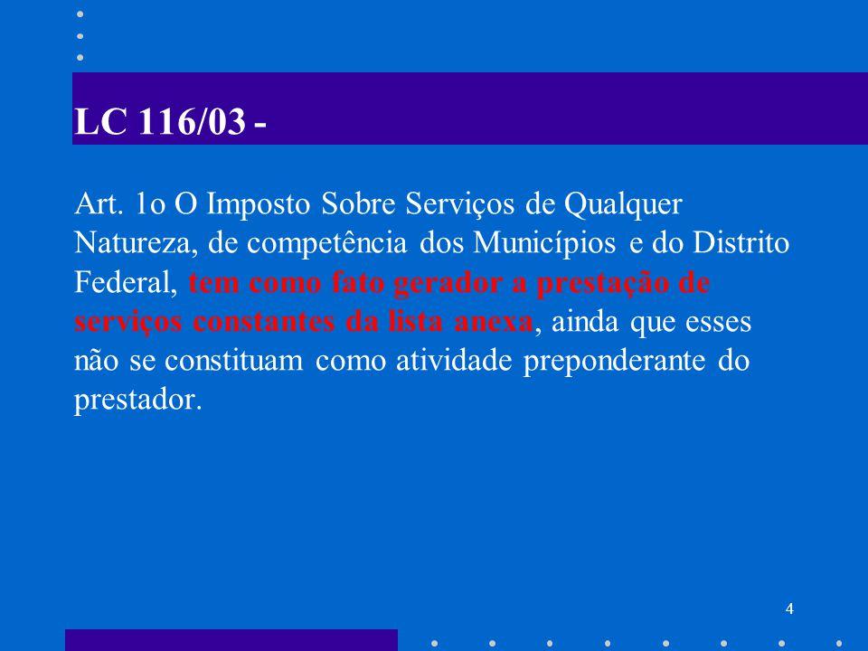 5 IMPORTAÇÃO DE SERVIÇOS O ISS incide sobre o serviço proveniente do exterior ou cuja prestação se tenha iniciado no exterior.