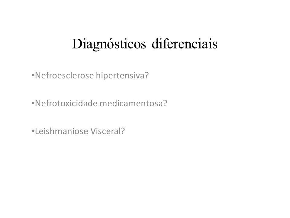 Diagnósticos diferenciais Nefroesclerose hipertensiva? Nefrotoxicidade medicamentosa? Leishmaniose Visceral?